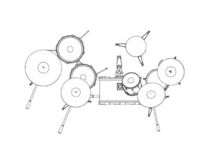 Drum set DWG Autocad block for free download