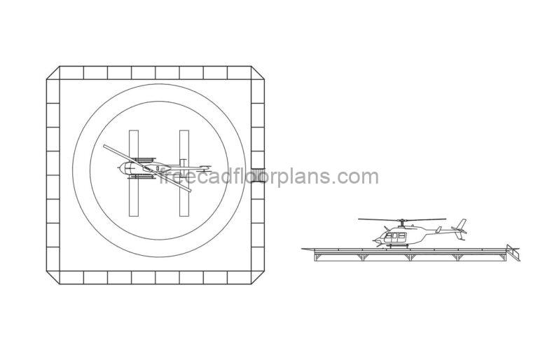 Helipad with Helicopter , AutoCAD Block