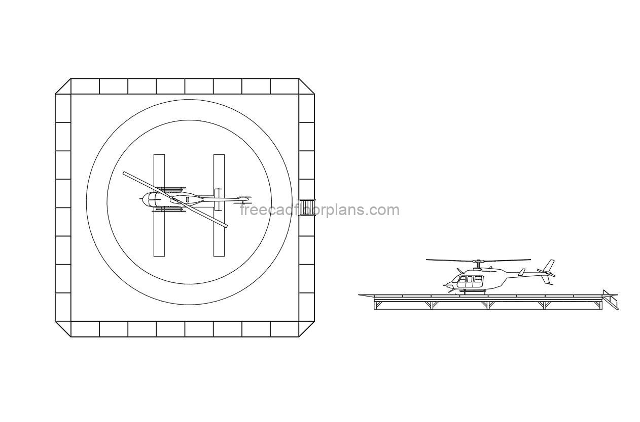 Helipad with Helicopter for free dwg file download