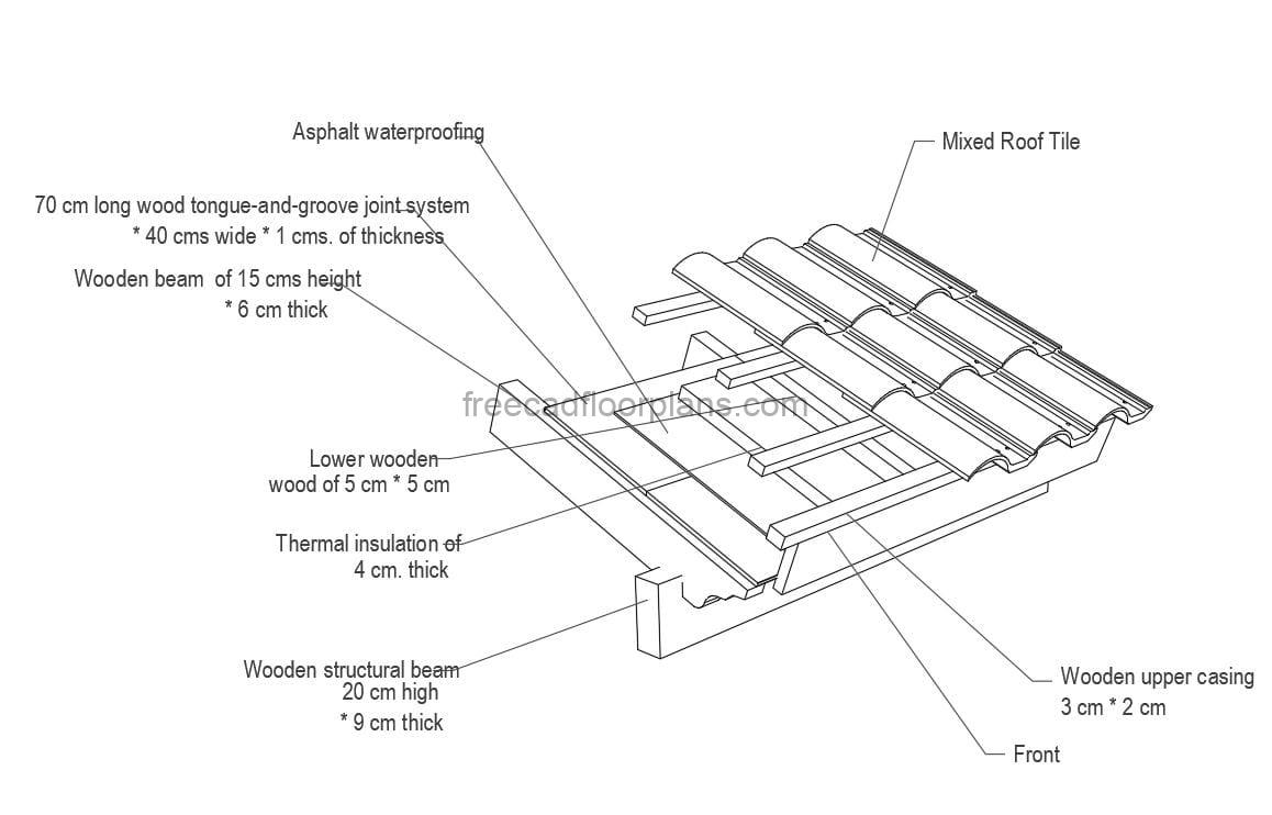 Detail of Wooden Roof with shingles and wood, AutoCAD DWG format file