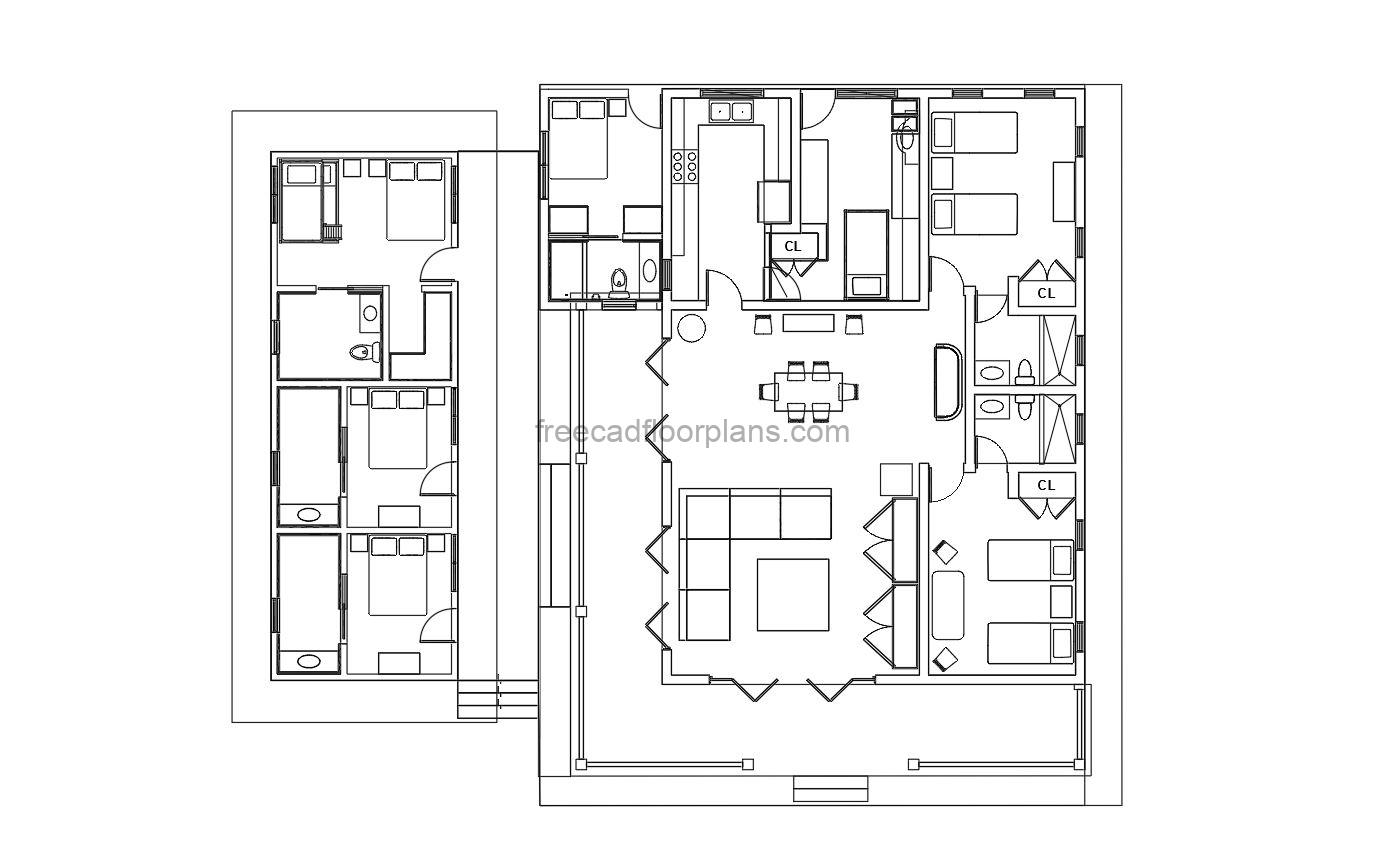 5 bedrooms village house layout dwg autocad format for free download