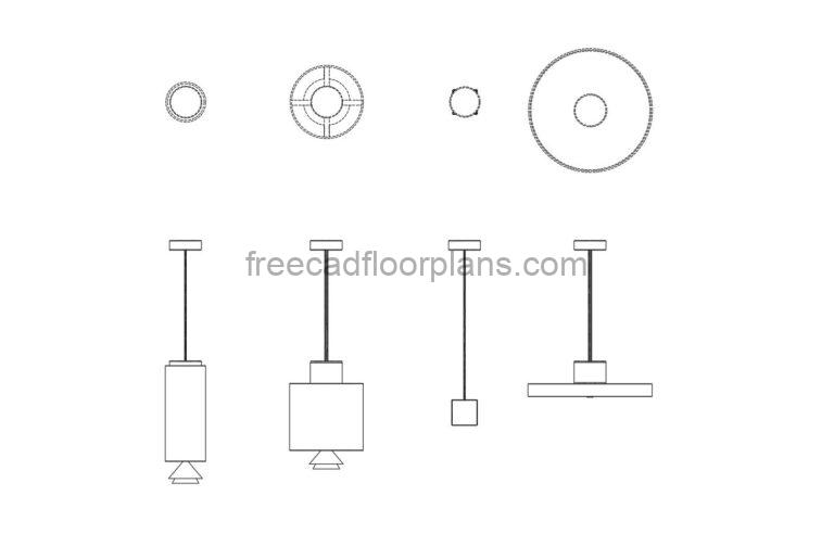 Ceiling Lights Front and Top Views, AutoCAD Block